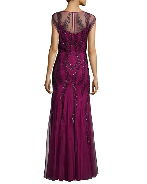 aidan mattox beaded gown aidan mattox cap sleeve beaded godet gown in purple lyst