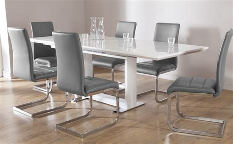 dining table and chairs for 6 tokyo white high gloss extending dining table and 6 chairs