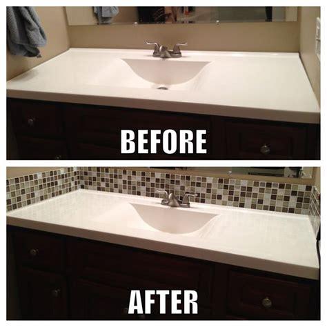 diy bathroom backsplash ideas square glass tile back splash makes a big difference in