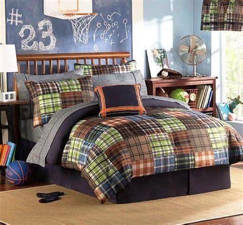 boys bedroom bedding sets brown blue orange green plaids and stripes boys