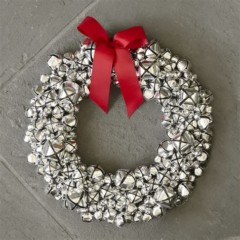 jingle bell wreath silver bell wreath with ribbon williams sonoma