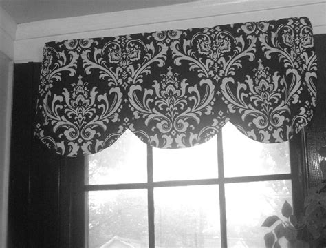 damask kitchen curtains window curtain valance damask black and white 42 x 16 inches