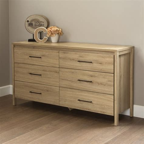 South Shore Bedroom Furniture by South Shore Gravity 6 Drawer Wood Double Dresser In Rustic