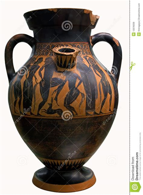 How To Decorate Bowls by Ancient Greek Vase In Black Over Red Ceramic Royalty Free
