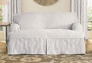 white t cushion sofa slipcover sure fit matelasse damask one t cushion sofa