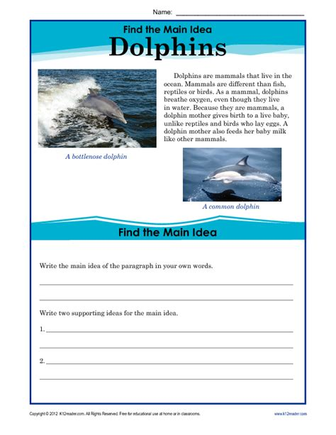 picture books for idea and details 5th grade idea worksheet about dolphins