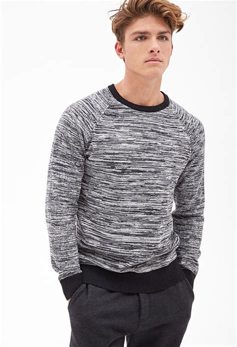 mens knit forever 21 marled knit sweater in black for lyst