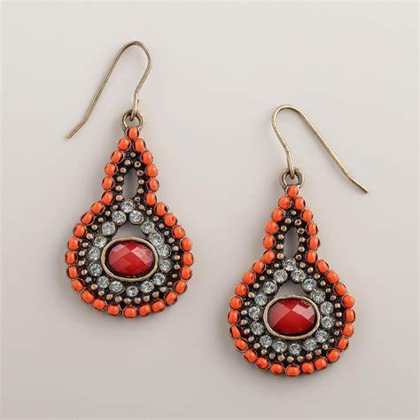 coral bead earrings coral bead and rhinestone teardrop earrings world market