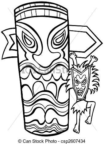 eps vector of witch doctor tiki idol line art isolated on
