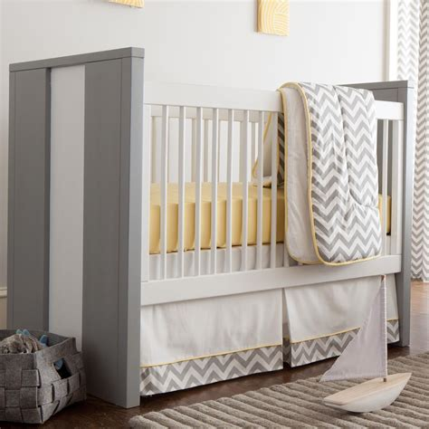 gray crib bedding sets gray and yellow zig zag 3 crib bedding set