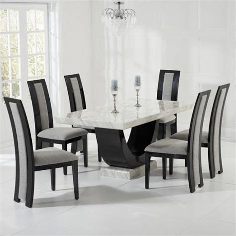 marble dining room table set marble dining set in and black with 6 grey