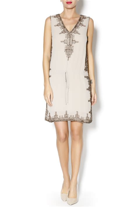 taupe beaded dress freeway taupe beaded sleeveless dress from chicago by