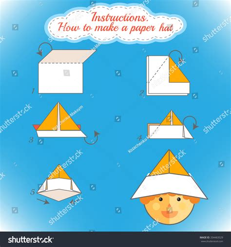 how to make an origami hat step by step how make paper hat tutorial stock vector