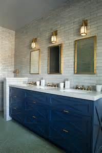 blue vanity bathroom blue sink vanity with three sinks and brass faucets