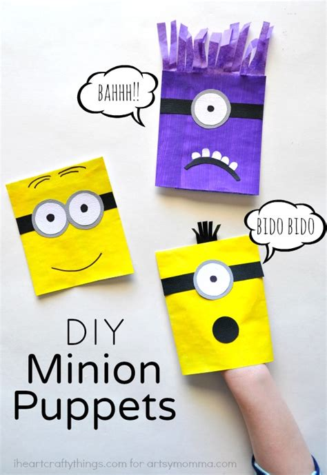 family crafts for diy minion puppets for made with an envelope i