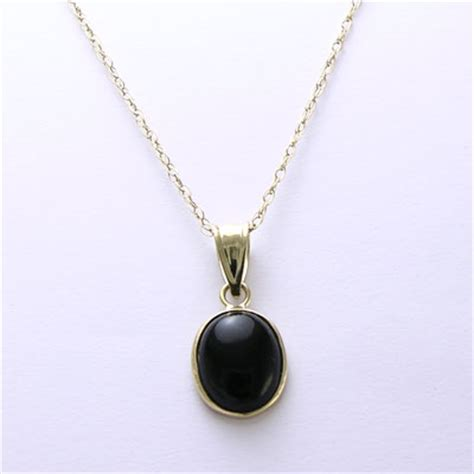 Anzor Jewelry 14k Yellow Gold Oval Black Onyx Pendant