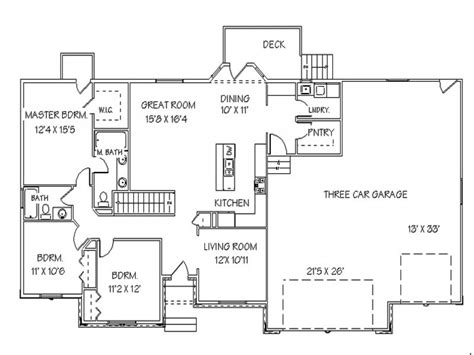 ranch house floor plans with basement single story open floor plans ranch house floor plans with