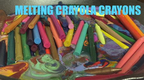 melt together dozens of crayons melting together in a pan
