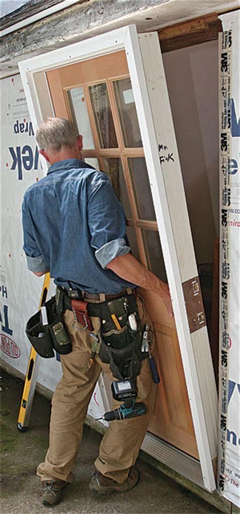 installing exterior door install a prehung exterior door homebuilding