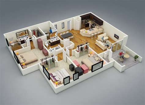 three bedroom house interior designs free 3 bedrooms house design and lay out