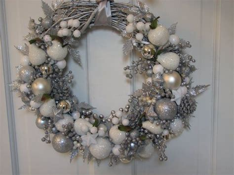 white wreaths glittery large silver and white wreath