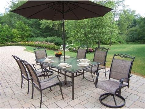 patio umbrella set oakland living cascade patio dining set with umbrella and