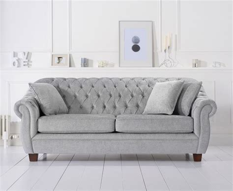 buy harris liv chesterfield grey plush 3 seater sofa