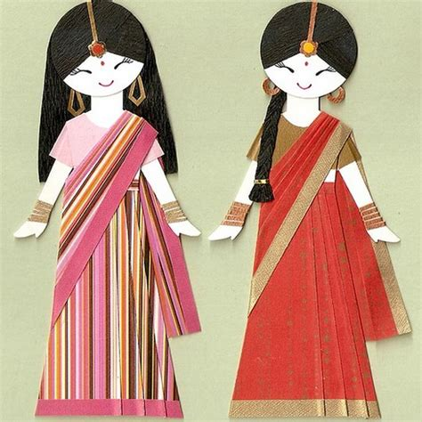 indian paper crafts sari paper dolls saree dreams