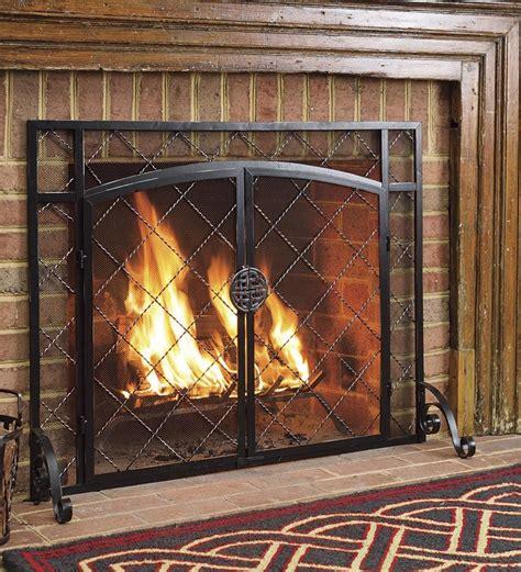 glass fireplace screens with doors 44 quot w x 33 quot h 2 door celtic knot flat screen