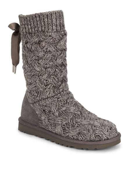 Ugg Blythe Knit Boots In Gray Lyst