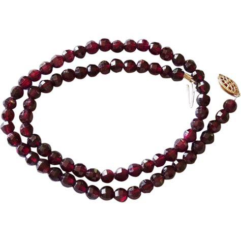Vintage Rhodolite Garnet Bead Necklace From Rubylane