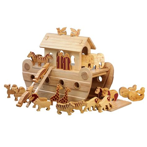 woodworking toys wooden noah s ark with animals christening gift