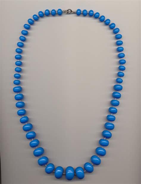 plastic bead necklaces graduated bright blue plastic imitation bead necklace