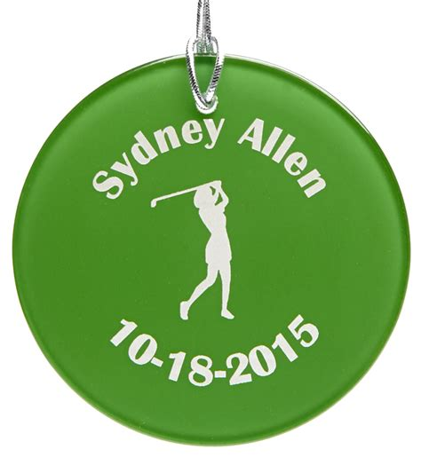 golf ornament personalized green glass golf ornament