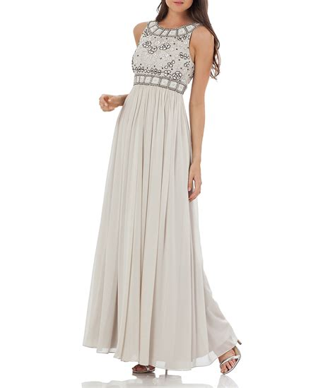 js collections beaded gown js collections grecian georgette floral beaded gown dillards