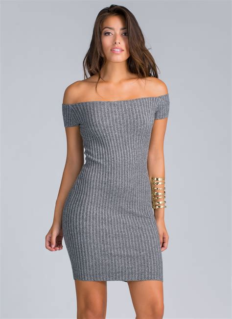 shoulder knit dress send the shoulder rib knit dress charcoal gojane