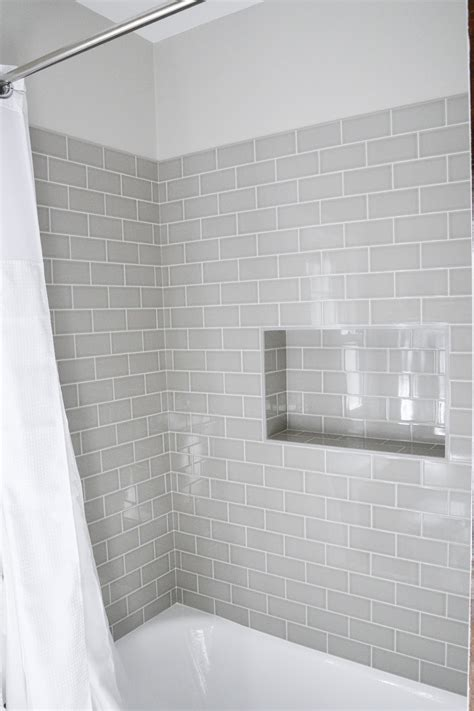 modern traditional bathrooms modern traditional bath gray subway tiles shower niche