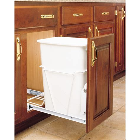 kitchen cabinet garbage can shop rev a shelf 35 quart plastic pull out trash can at