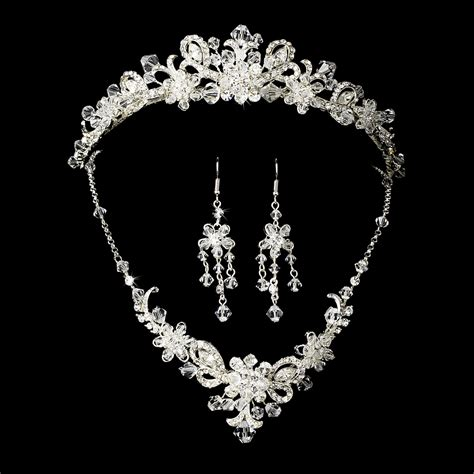 swarovski crystals for jewelry silver bridal jewelry set and tiara of swarovski