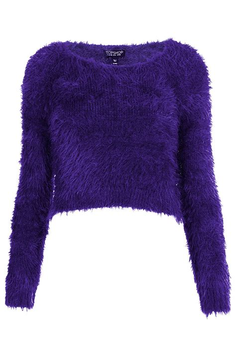 purple knitted jumper topshop knitted fluffy crop jumper in purple lyst