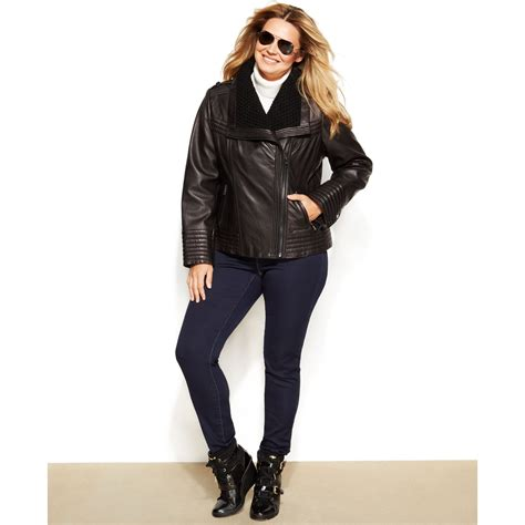 plus size leather jackets for michael kors michael plus size knit trim leather jacket in