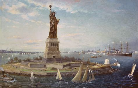 paint island new york liberty island new york harbor painting by fred pansing