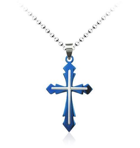 blue fashion jewelry blue cross pendant necklace fashion jewelry value