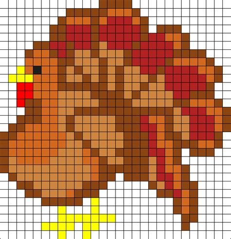 perler bead turkey pattern turkey perler bead pattern bead sprites holidays fuse