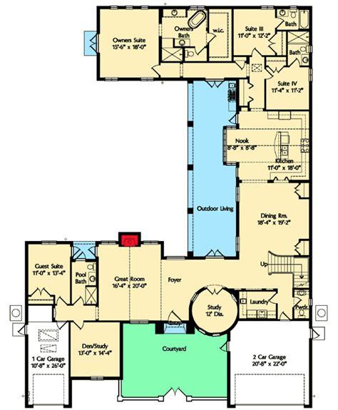 courtyard floor plans courtyard home plan 42828mj 1st floor master