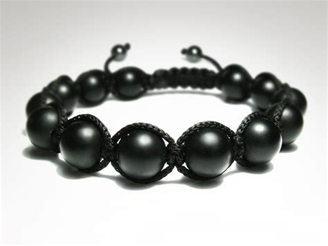 black onyx bead bracelet for s matte black onyx mens beaded bracelet