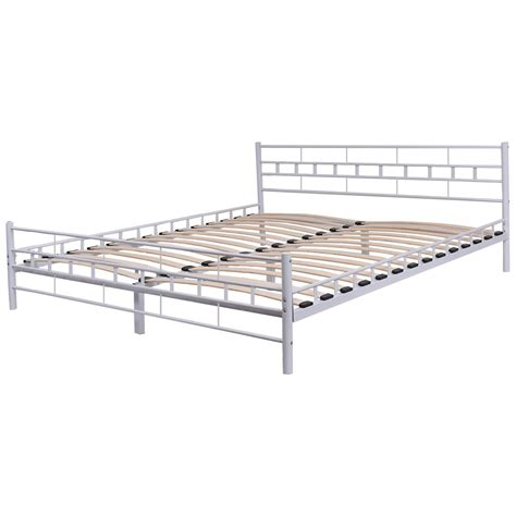 white steel bed frame white steel bed frame with wood slats and grid headboard