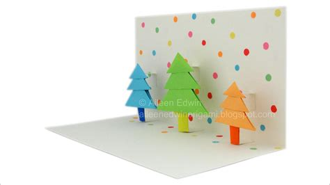 how to make a origami pop up card origami pop up tree card tutorial hd