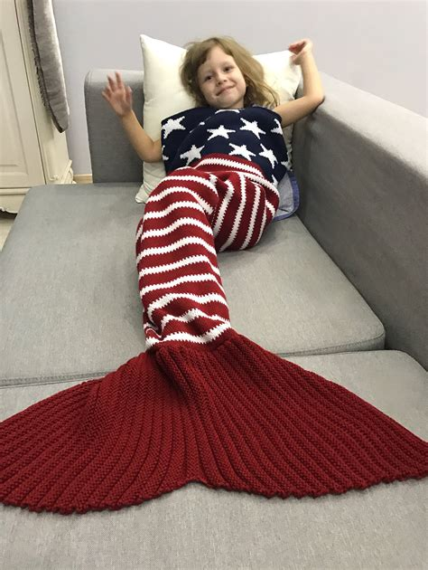 knitted bed throw pattern knitted usa flag pattern throw bed mermaid blanket in