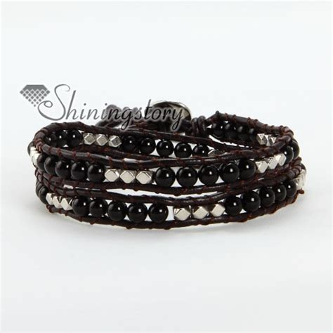 leather bead bracelets with silver bead beaded leather wrap bracelets wholesale